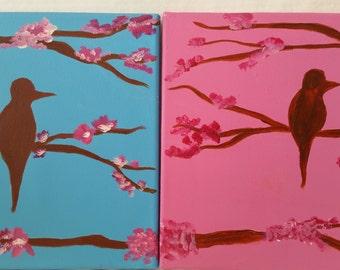 Baby Art-Room decor-Ready to ship-Bird on a cherry tree painting- Wall Hanging- Bird room decor-Baby girl room-Modern baby decor