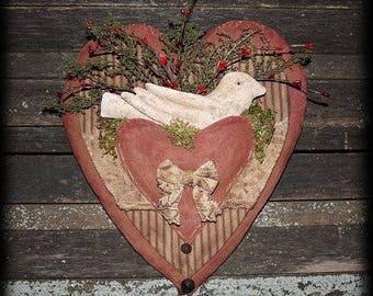 Primitive Valentine Lace Heart Dove Door Hanger E-PATTERN