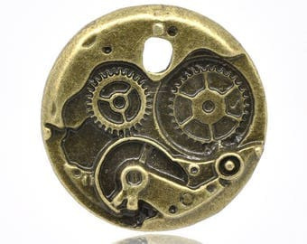 25mm STEAMPUNK antiqued bronze finish charms pendants vintage style mechanical clock works