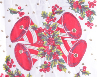 Vintage, 1960s, Christmas Table Runner, Bells, Excellent Shape, Holly ~ The Pink Room ~ 160921C