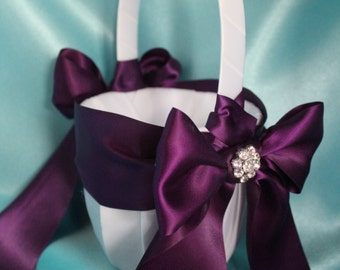 Ivory or White Flower Girl Basket Plum Satin Sash and Ribbons with Rhinestone Accent-More Ribbon Colors Available
