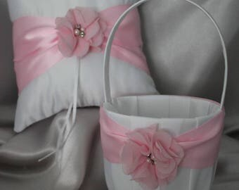 Ivory/White Flower Girl Basket/Pillow with Pink Sash and Pink Chiffon Flower, Rhinestones and Pearls-U pick pieces