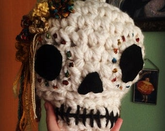 Crochet Day of the Dead/Halloween Skull extra large hanging ornament