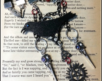 Gothic Raven Necklace Choker The Keeping Corvid Skulls Protection Anti Possession Celtic Triquetra Black Silver Goth Gothic