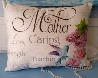 Sentimental Mother Gift Pillow with Hummingbird, Roses and Lilacs, Mother's Day Gift, Gift For Mom, Birthday Gift