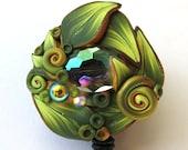 Green Crystal Garden ID Badge Reel, Scissor Keeper, ID Lanyard, Scissor Fob