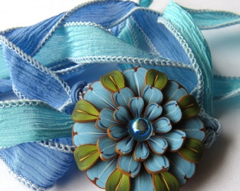 Blue and Green Flower Wrap Bracelet Pink and Green Silk Ribbon Wrap Bracelet,Polymer Clay Pendant Wrap Bracelet,Hair Accessory