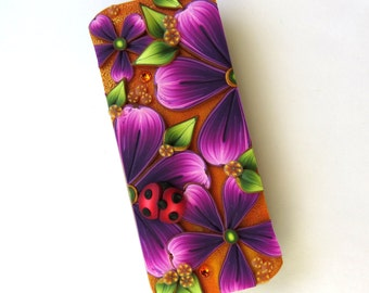 Ladybug Purple Flower Slide Top Tin, Sewing Needle Case, Polymer Clay Covered Tin, Magnetic Needle Case