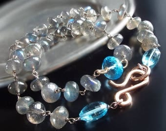 ON SALE - CUSTOM Made to Order - Labradorite Necklace with Swiss Blue Topaz and Rose Gold