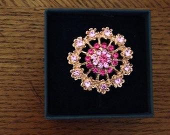 Magnetic Brooch, Pink Rhinestones