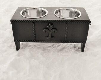 Dog Bowl Holder Feeding Stand Elevated Feeder Fleur De Lis Accent Black Custom