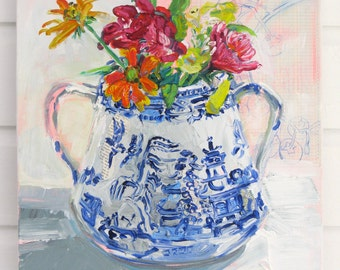 August Bouquet original mixed media painting  by Polly Jones