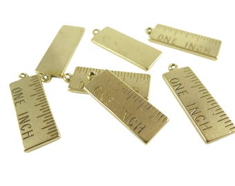Raw Brass One Inch Ruler Pendants (2X) (K601-A)