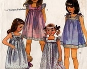1985 Girls' NIGHTGOWN TOP PANTIES Pattern McCalls #2041 Size 10-12-14 Summer Attire Sundress Vintage Sewing