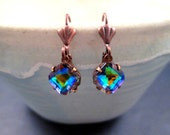 Rhinestone Dangle Earrings, Vitrail Colored Glass, Copper Drop Earrings, FREE Shipping U.S.