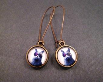 Cool Cat Earrings, Glass Cabochon Earrings, Brass Dangle Earrings, FREE Shipping U.S.