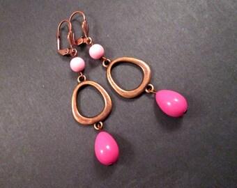 Pink Glass Drop Earrings, Mod Loops, Long Copper Dangle Earrings, FREE Shipping U.S.