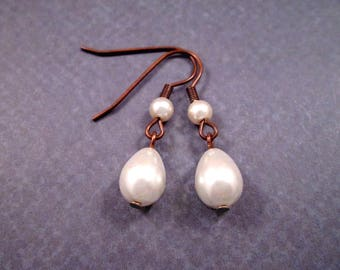 Pearl Drop Earrings, Bright White Glass Pearls, Copper Dangle Earrings, FREE Shipping U.S.