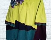 4X 5X Colorblock Tunic Shirt Top Ruffle Flower Eco Friendly Plus Recycled Fashion Tie Dye Teal Chartreuse Navy Blue Eggplant Purple Orange