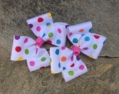 Colorful Polka Dot Hair Bows,Pigtail Hair Bows,Toddler Hair bows,French Barrettes,Ready to Ship
