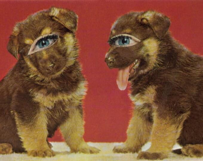 Creepy Cute Puppy Art, Kitsch Dog Artwork, Canine Collage