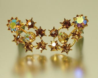 Reserved - Vintage/ estate 1950s/ 60s gold plated and brown diamante rhinestone / paste, star costume clip on earrings - jewelry jewellery