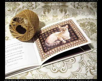 POST CATS: Lesley Anne Ivory's Cat Paintings | Small Hardcover Book ©1989 | Chronicle Books, SF | Gift for Lovers of Cats & Art, Like-New