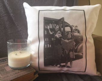 book lover decorative throw pillow cover,  bookmobile, library on wheels, book nook pillow