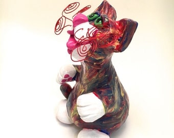 Cat Sculpture with Polymer Red Yellow and Blue Painted Whimsical Made to Order CTP0005