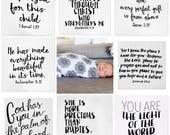 Modern Burlap Swaddle Blanket, scripture blanket, verse swaddle, adoption gift, Monogrammed Onesie, Personalized baby gift, muslin swaddle