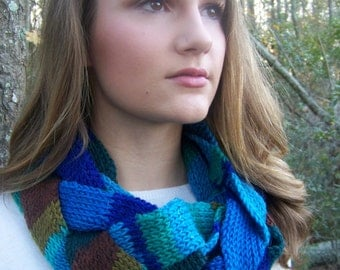 Blue green brown braided infinity scarf with buttons cowl hand crocheted machinwashable wool
