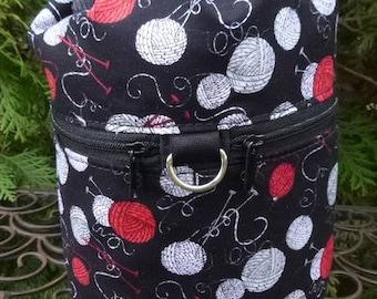 Black knitting bag, knitting in public drawstring bag, knitting project bag, Knitting Scatter, WIP, Kipster