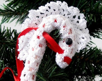 Hobby Horse Ornament, Christmas Tree Decoration, White Lace Candy Cane Cover, Gift Topper, Snow Pony Candy Cane Hanger Decoration