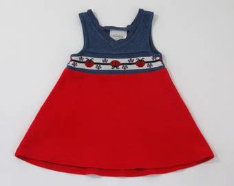 Vintage Girls' Tunic Dress, Girls'  Tennis Dress, Bonnie Jean Blue & Red Dress with Ladybug Inset - Size 4T Girls' Polyester Tunic Dress