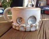 RESERVED--hand thrown classic ceramic skull mug