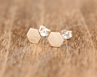 tiny gold-filled hexagon studs on sterling silver posts