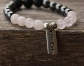 Rose Quartz Hematite Lava Stone Stretch Bracelet,Aromatherapy Jewelry, Diffuser Jewelry, Motivational, Stacking bracelet, diffuser bracelet