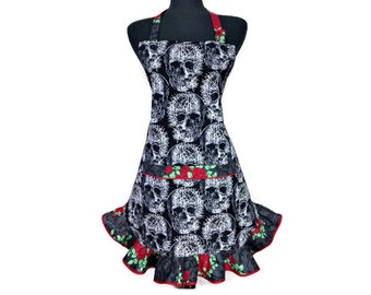 Goth Kitchen Apron, Skulls and Roses, Adjustable with Retro style ruffle, Halloween Party Decor, Rockabilly, Horror Chef