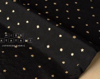 Japanese Fabric silk blend metallic stars - black, gold - 50cm