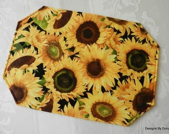 One or More Quilted Reversible Placemats, Sunflowers Large and Small, Handmade Table Linens