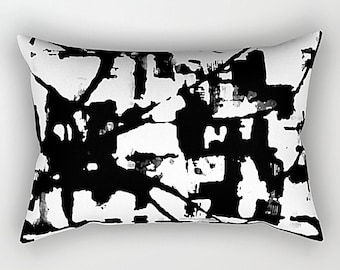 Lumbar Pillow, Black And White, Modern Pillow, Art Pillow, Throw Pillow, Sofa Pillow, White Throw Pillow, Black Throw Pillow, Rectangular