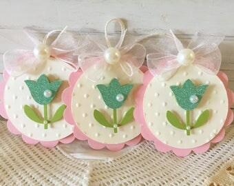 Spring Aqua Green Glitter Tulip paper Flower Embellishment Tags set of 3