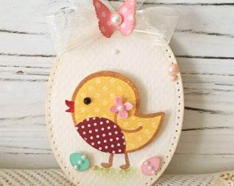 Spring Butterfly Shabby Yellow Bird Easter Egg Embellishment Tag