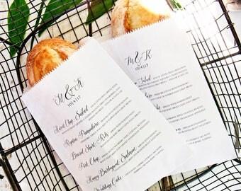 Wedding Menu Bag - Simple Calligraphy - Bread Wrap Style - Custom Menu Baguette Bag - Wax Lined - 20 White Favor Bags included