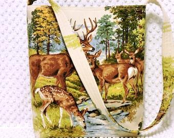 Vintage Rustic Deer Family Fabric Shoulder Bag in Green and Brown