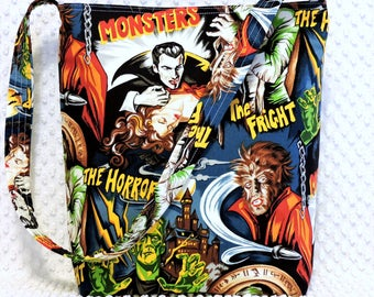 Rockabilly Hollywood Monsters Purse, Scary Horror Movie Hobo Bag, Retro Dracula Handbag