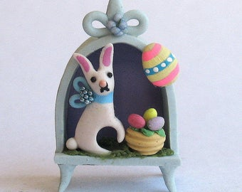 Miniature  Easter Bunny & Egg Basket Niche Diorama OOAK by C. Rohal