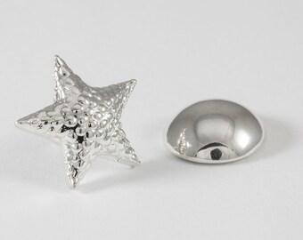 Starfish Lapel Pin, Sterling Silver