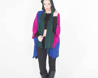 Colorful Kimono, Hooded Kimono, Loose Kimono Cardigan, Plus Size Kimono, Evening Wrap, Statement Wrap, Hooded Cloak with Pockets, Beach Wrap