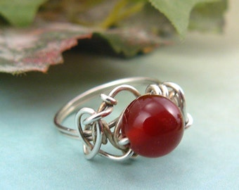 Wire Wrapped Sterling Silver and Carnelian Bead Ring Size 6